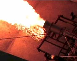 A test run of our Frontier Astronautics<br/>Viper LOX/Kerosene Rocket Engine
